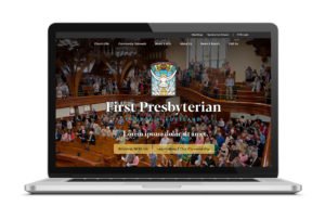 First Presbyterian homepage on interior of laptop